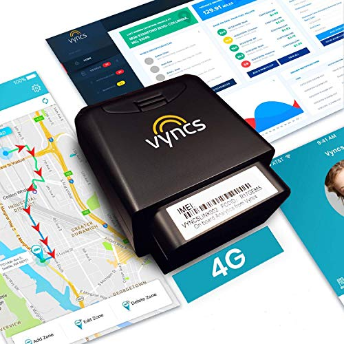 GPS Tracker for Vehicles Vyncs 4G LTE - No Monthly Fee - Real Time, 1 Year Data, SIM - USA-Developed - Car Truck OBD Trip Driver Alert OBD2 Data Teen Senior Family Fleet Alexa. Activation Fee Required