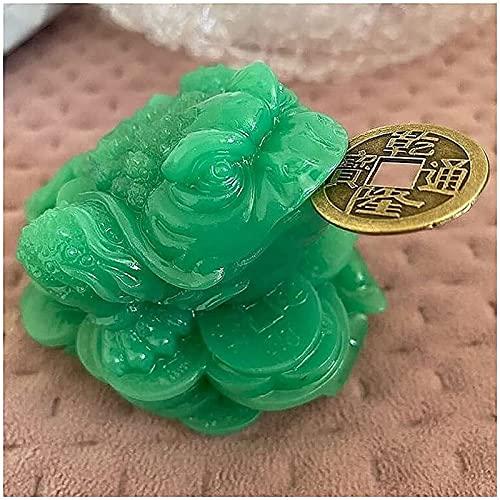JJDSN Esculturas Luminosas de Rana Sapo de Tres Patas, Adorno de Estatua de Animal de Piedra de Jade Artificial Luminosa, Moneda China Feng Shui Dinero decoracin de Buena Suerte