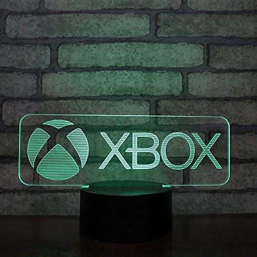Lámpara LED Logotipo de Xbox Cambio de color Luz de noche USB 3D Acrílico LED 7 colores Luz de noche Lámpara de mesa Regalo de luz Interruptor táctil Decoración de la habitación Regalos para niños