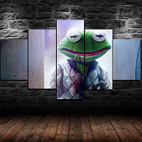 45Tdfc 5 Unidades Pictures Animated Cartoon Movie Frog Kerm Painting Home Decor Modern Wall Art Canvas HD Prints Frame Modular Poster