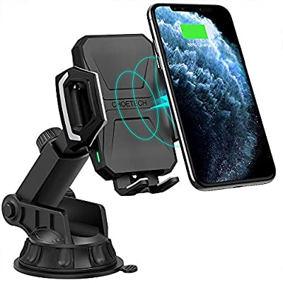 CHOETECH Fast Wireless Car Charger Mount, 7.5W Compatible with Apple iPhone 11 Pro/11 Pro Max/XR/XS Max/X/8, 10W for Galaxy Note 10/S10/S9/S8, 5W for Qi-enabled Phone Wireless Car Charger Phone Holder