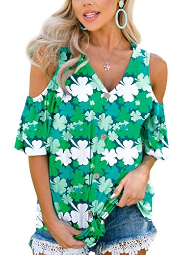 St. Patrick's Day Womens Clover Casual Blouse Short Sleeve V Neck Cold Shoulder Top M