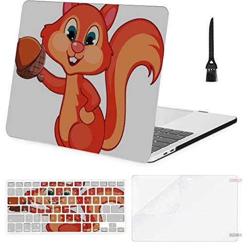 MacBook Pro Case Squirrel Cartoon Vector Art Illustration MacBook Air 11' /A1370/A1465 Plastic Case Keyboard Cover & Screen Protector & Keyboard Clea