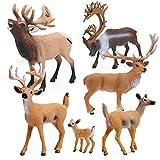 RESTCLOUD Deer Figurines Toys Deer Figures Cake Toppers Includes White-Tailed Deer Family, ELK, Reindeer and Caribou