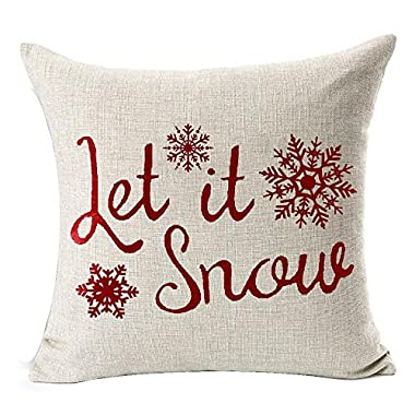 Andreannie Happy Winter Red Let It Snow Various Beautiful Snowflakes Merry New Home Room Decorative Cotton Linen Throw Pillow Case Cushion Cover Square 18 X 18 Inches