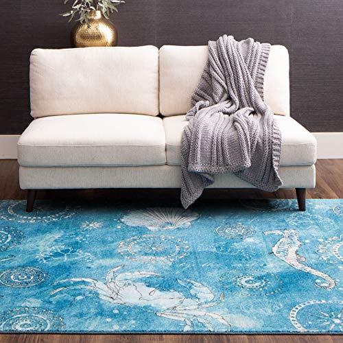 Mohawk Home Coastal Splash Aqua Area Rug, 5'x8′, Blue