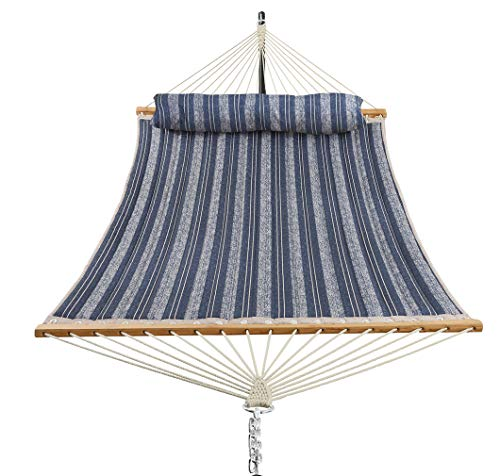 Patio Watcher 11 Feet Quilted Fabric Hammock with Pillow Double 2 Person Hammock with Bamboo Spreader Bars, Perfect for Outdoor Patio Yard Blue Stripes