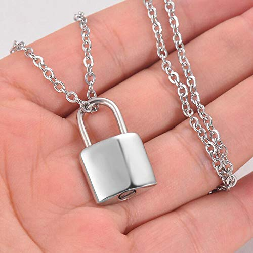 Ashes chain Stainless Steel Small PadLock Cremation ashes urn necklace jewelry keepsake pendant lock Memorial Jewelry