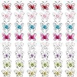 Sunnyclue 48pcs 8 colores 3d mariposa pegatinas tela mariposa con cristal rhinestone para cabello sombrero vestido libros de recuerdos adornos pared hogar artesanía decoración boda fiesta joyería