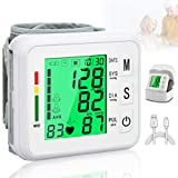 Topffy Blood Pressure Monitor,Digital BP Cuff Automatic Large Backlight Display Wrist BP Cuff Monitor Rechargeable Wrist Blood Pressure Monitor Pulse Rate Monitoring Meter BP Machine for Home Use
