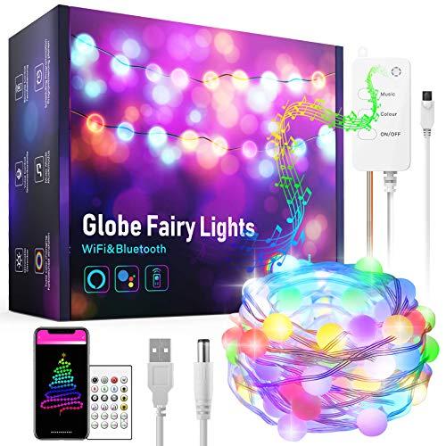 Smart WiFi LED Guirnalda Luces 10m, Aoycocr Cadena de Luces Apto para interior y exterior, control de aplicación, sincronización de música, funciona con Alexa y Google Assistant, IP65