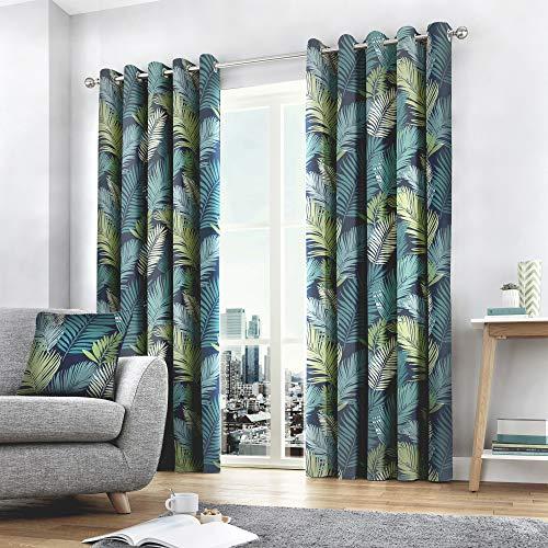 Fusion Tropical - Par de Cortinas de 117 x 137 cm, 100% algodón, 117 x 137 cm, Multicolor