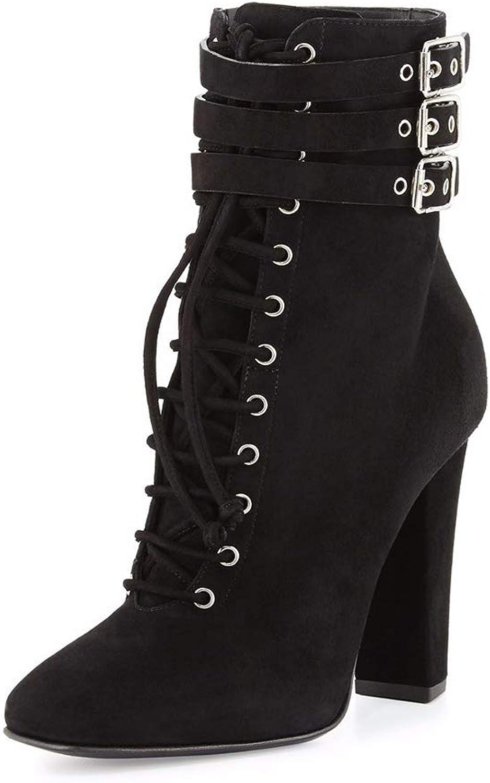 ¥schuhe Damen Schnür Stiefelette Chunky Heels Stiefel Mit Blockabsatz Freizeit Schuhe