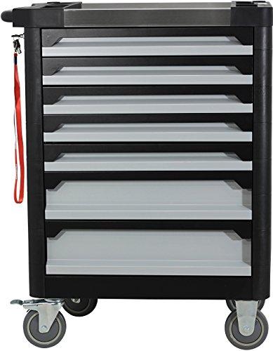 Ultra Edition Werkstattwagen | 7 Schubladen – 5 gefüllt mit Handwerkzeug | Werkzeugwagen abschließbar + COB Akku Arbeitsleuchte - 7