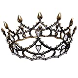 Panpan Joyería de Cristal Corona de Ronda Rhinestone Nupcial Tocado Cena de cumpleaños Novia Hechos a Mano, Negro