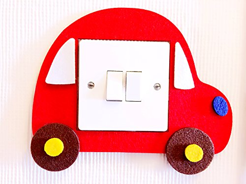 Super Cute 3D Toy Car Light Switch Wall Sticker, Premium Quality Thick Felt Material, Vivid Bright Colours! Unique On Amazon! Must Have For All Car Loving Kids! Children Boys Girls Bedroom Nursery Room Decor! Free Delivery In 2 to 3 Working Days! (Red)