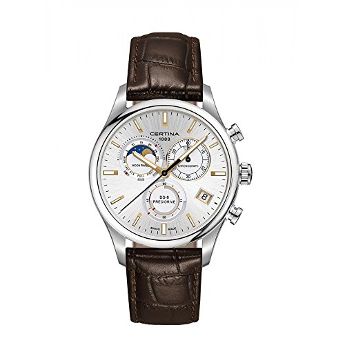 Certina DS- 8 Chronograph Moon Phase Silver Dial Brown Leather Mens Watch C0334501603100
