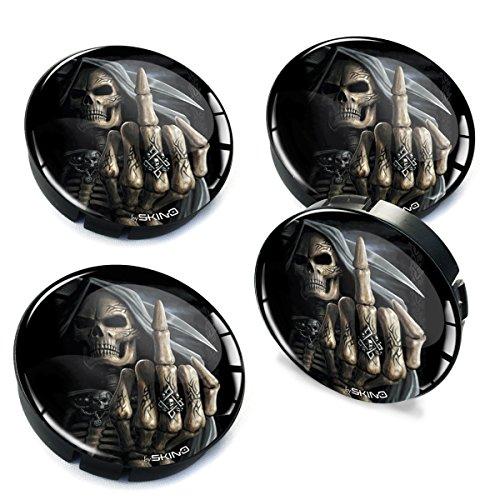 SkinoEu® 4 x 60mm Silikon Nabenkappen Kappen Totenkopf Schädel Skull Felgendeckel Radkappen Radnabendeckel Nabendeckel Auto Tuning C 25