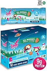THE MOST NUTRITIOUS KIDS BAR: Complete with kids protein and fiber blend (9g protein, 7g fiber) and only 7g sugar! PICKY EATER APPROVED: Flavors and textures specially designed for picky eaters. Soft, chewy, and delicious flavors make Zeek Bars great...