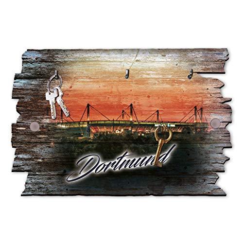 Kreative Feder Dortmund Stadion Designer Schlüsselbrett | Schlüsselleiste | Hakenleiste | Landhaus Shabby-Style aus Holz 30x20cm, HSB048