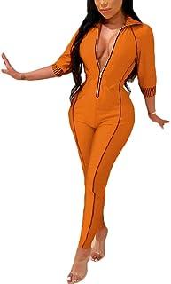 5819cc3590f9 SELX Women 3 4 Sleeve Color Blocked Sexy Zipper Bodysuit Jumpsuit Romper