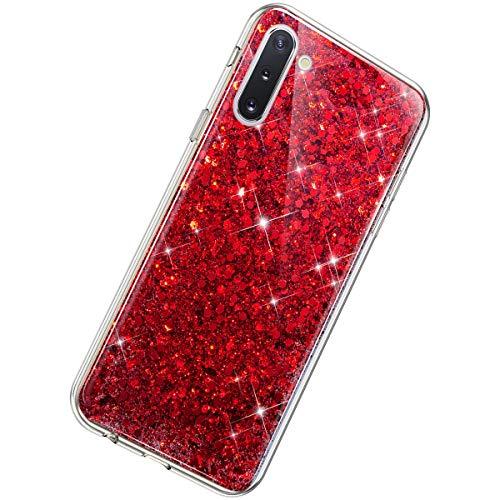 Herbests Kompatibel mit Samsung Galaxy Note 10 Hülle Glitzer Mädchen Schuzhülle Kristall Sparkle Bling Strass Diamant Dünn Durchsichtige Transparent Weiche Silikon TPU Handyhülle Tasche Etui,Rot