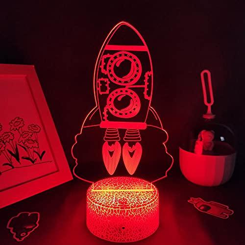 Lámpara de noche 3D, ilusión 3D, lámpara de lava, lámpara 3D, lámpara LED de noche para niños, decoración de dormitorio, cohete, juguete de Navidad, cumpleaños, escritorio, lámpara de mesa