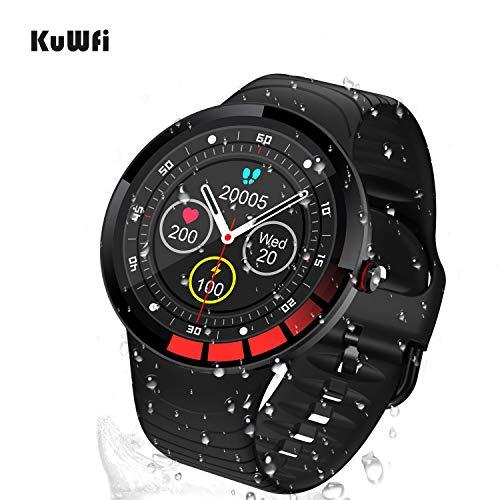 KuWFi Fitness Tracker, WasserdichtIP68 WetterAnzeige Smartwatch Sport Uhr Herzfrequenz Blutdruck Blut Sauerstoff Gesundheit Tracker
