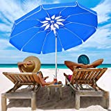 MOVTOTOP Beach Umbrella UV 50+, 6.5ft Umbrella with Sand Anchor &...