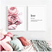 Nordic Style Pink Love Peony Flower And Letter Canvas Painting Print Poster Picture Home Wall Art Decoration 51x71cmx2 Unframed