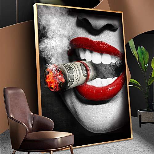 wZUN Pster Impreso Rojo Sexy Labios Mujer Cigarrillo Pintura al leo Lienzo Mural Sala de Estar decoracin del hogar 50x60cm