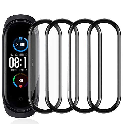 【4 pezzi】 Film protettivo in vetro temperato compatibile con Xiaomi Mi Smart Band 4/5, [antigraffio], [ tocco sensibile], [senza bolle], [applicazione facile], [Durezza 9H],[Copertura completa]