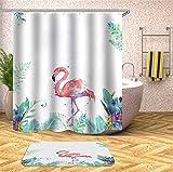 Chickwin Flamingo Duschvorhang Anti-Schimmel und Wasserdicht Antibakteriell 3D Drucken, 100prozent Polyester Karikatur Digitaldruck mit 12 Duschvorhangringe für Badezimmer (180x180cm,Hellgrün)