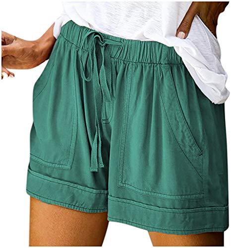 HIRIRI Womens Summer Shorts Comfy Drawstring Splice Casual Elastic Waist Pocketed Loose Short Pants Mint Green