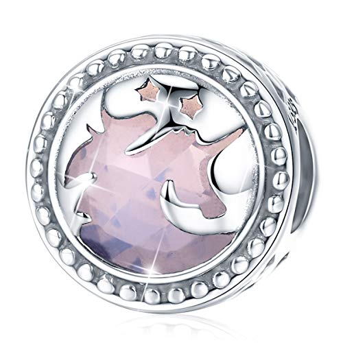 FOREVER QUEEN Fantasy Unicorn Charm, 925 Sterling Silver Big Stone Charms Bead for Necklace Pandora Charms Bracelet Snake Chain, Best Christmas Birthday Gift for Mother Wife Girlfriend BJ09003