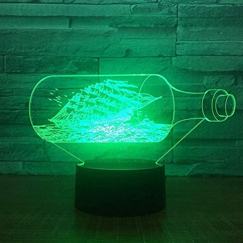 Botella de barco 3D Ilusión fotográfica Luz nocturna Lámpara de mesa LED Luz táctil de 7 colores Hogar Dormitorio Oficina Decoración Niños D Regalo de cumpleaños