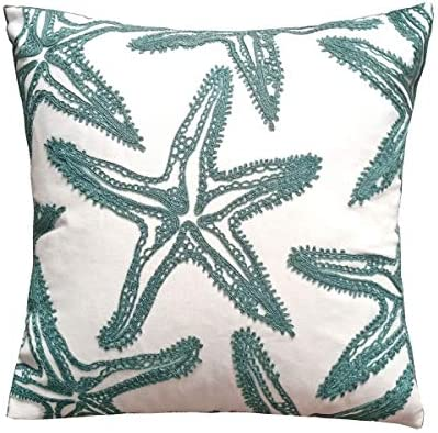 Best Only Cover,FINOHOME Embroidery Lake Blue Starfish Throw Pillow Cover,Ocean Series Nautical Decorativ