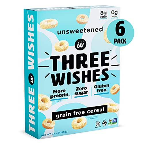 magic spoon flavors Plant-Based and Vegan Breakfast Cereal by Three Wishes - Unsweetened, 6 Pack - High Protein and Low Sugar Snack - Gluten-Free, Grain-Free, and Dairy-Free - Non-GMO