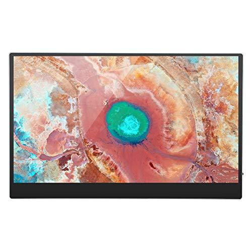 Monitor Portátil, 15,6 Pulgadas IPS HDR 1920 X 1080 Pantalla para El Cuidado De Los Ojos Monitor De Juegos USB C con Pantalla Táctil Capacitiva De 10 Puntos Compatible con La(Enchufe de la UE)