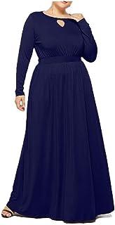 neveraway Women's Crewneck Long Sleeve Oversized Sexy Premium Midi Dress