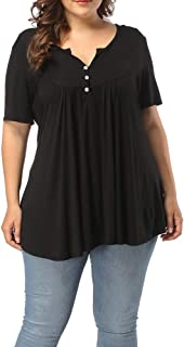 Women's Plus Size Henley V Neck Button Up Tunic Tops Casual Short Sleeve Ruffle Blouse Shirts