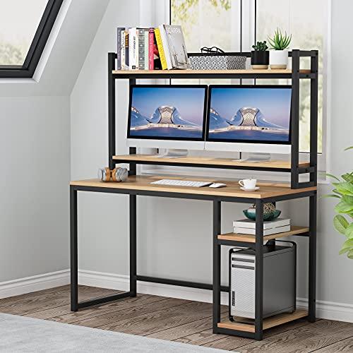 Tribesigns Escritorio de computadora con soporte de monitor, escritorio grande con estantes de almacenamiento, mesa de escritura de marco de metal de estilo industrial para oficina en casa, arce