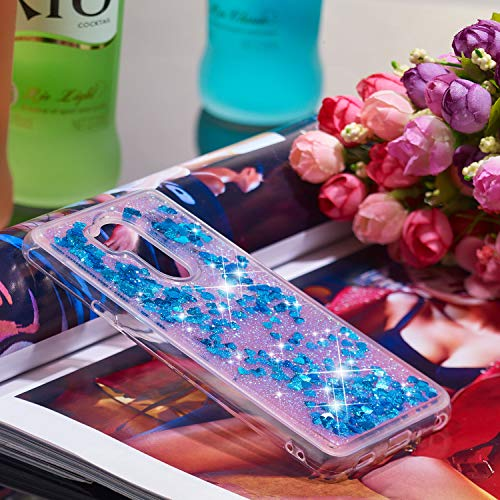 Anfire Funda LG G7 ThinQ, Transparente Carcasa Líquido Silicona Case, Premium Suave Gel TPU Bumper Tapa [3D Arenas Movedizas] Caja Que Contiene Agua Flexible Estuche para LG G7 ThinQ - Azul