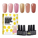 Lagunamoon UV Nagellack, Gel Nagellack UV LED 6 Farben Set für Nageldesign Gel Polish Soak off Gel Nagellack Barefoot In Paris