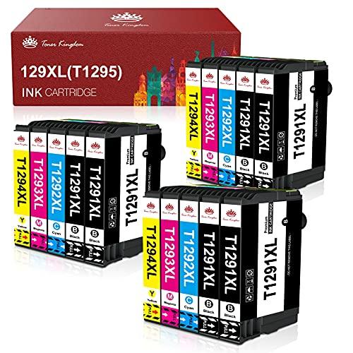 Toner Kingdom Cartuchos de Tinta Compatibles de Reemplazo para Epson 129XL T1291 T1292 T1293 T1294 T1295 para Epson Workforce WF-3520 WF-7015 Stylus SX235W SX425W SX535WD Stylus Office BX305FW (15pk)