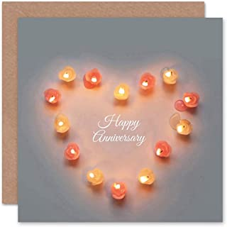Happy Anniversary Candle Love Valentines Heart Day Light Greetings Card