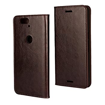 iCoverCase Compatible with Google Nexus 6P Case Genuine Leather Wallet Case [Slim Fit] Folio Book Design with Stand and Card Slots Flip Case Cover for Google Nexus 6P 5.7 inch  Brown