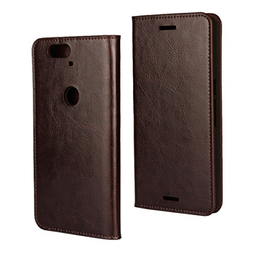 iCoverCase Compatible with Google Nexus 6P Case, Genuine Leather Wallet Case [Slim Fit] Folio Book Design with Stand and Card Slots Flip Case Cover for Google Nexus 6P 5.7 inch (Brown)