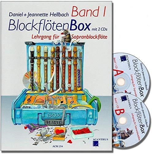 Caja de flauta dulce Band 1 con 2 CDs – Guía de aprendizaje de flauta dulce soprano para niños de Daniel Hellbach, reedición revisada y mejorada – con pinza en forma de corazón