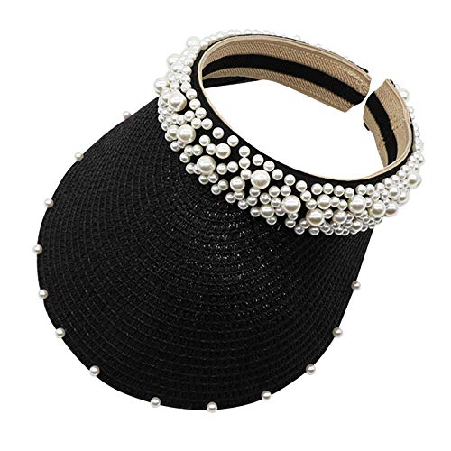 Vobery Sombrero de perlas para mujer, con protección solar, para el sol, hueco, color negro